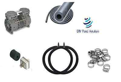 DIYPondPro LARGE Pond Aerator System w/50' WTD Hose-2-4' RING Diffusers FREE S&H