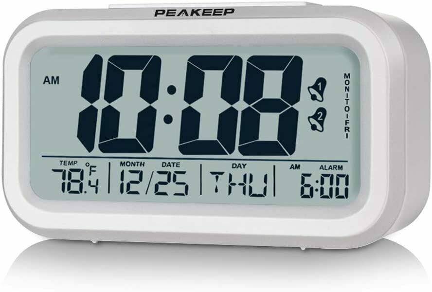 Peakeep Digital Alarm Clock with Dual Alarms, Indoor Tempera