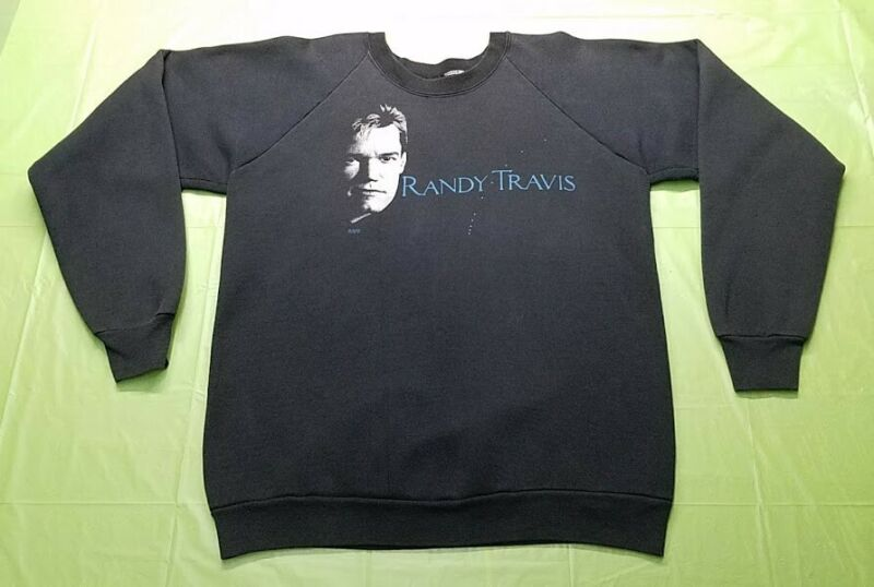 Vintage Randy Travis Long Sleeve Pullover Sweat Shirt 1988! Country Music!