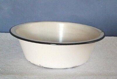 Vintage White Black Trim Enamelware Basin Mixing Bowl (Medium Lavatory Bowl)