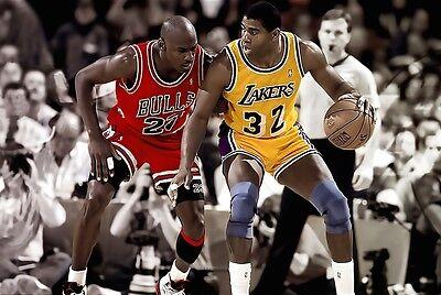 43e0fb0882ef NBA BULLS LAKERS MICHAEL JORDAN ERVIN MAGIC JOHNSON POSTER NEW 36x24 FREE  SHIP