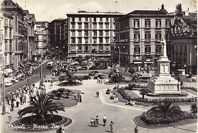NAPOLI PIAZZA DANTE VIAGGIATA 1958 ANIMATA