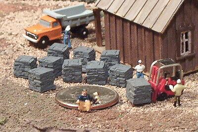 12 Stacks of Bricks N Scale Detailed grey