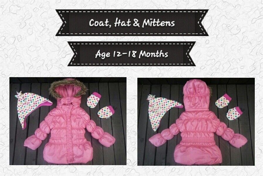 Baby Girl Pink Padded, Hooded Winter Coat With Hat & Mittens Set, Age 12-18 Months