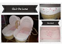 Clair De Lune Baby Girl Stardust Twin Palm Moses Baskets, Duo/Twin Rocking Stand, Mattresses & Linen
