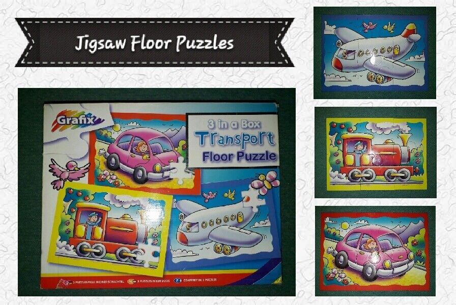 Kids Jigsaw Puzzles: Set Of Three Transport Themed Jigsaw Floor Puzzles