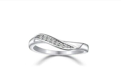 Beautiful Pave Cubic Zirconia 925 Sterling Silver Ribbon Band Wave Ring RS74