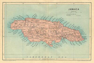 JAMAICA. Vintage map. West Indies. Caribbean 1935 old vintage plan chart