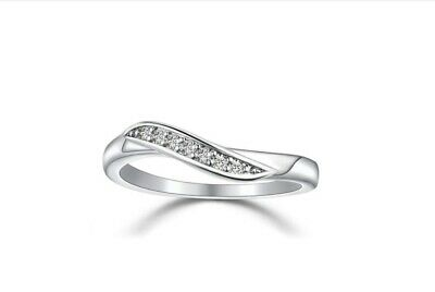 Ribbon 925 Sterling Silver 0.5 Ct Cubic Zirconia Wave Engagement Band Ring RS74