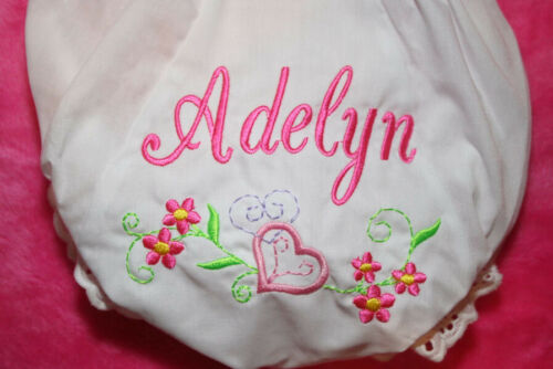 Personalized Monogrammed Diaper Cover Bloomers newborn through 4T- Heart Flower