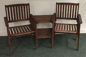 Jack and Jill Seat Garden Patio Furniture Companion Love Bench Chair