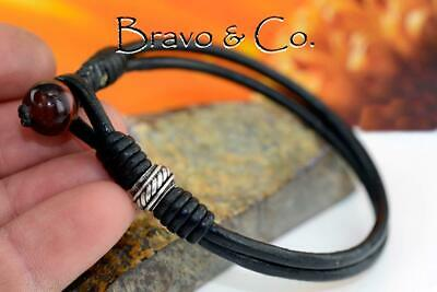 1B-094 CUSTOM MADE Sterling Silver Leather Red Tiger Eye Wristband Men Bracelet. Custom Made Sterling Silver Bracelet