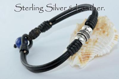 Custom Made Sterling Silver Leather Lapis Lazuli Wristband Men Bracelet 2B-220 Custom Made Sterling Silver Bracelet