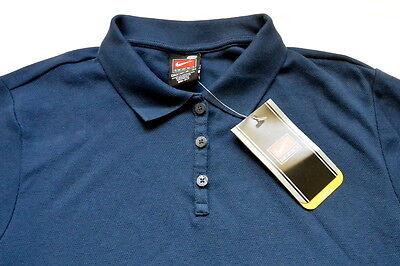 Nike Polo Shirt M Blue Mesh Dri Fit Solid Classic Cotton Golf Training Sport New