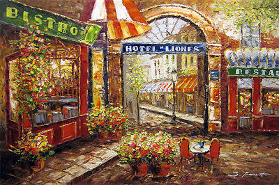 Paris France Cafe Eiffel Arc Provence Art Oil Painting
