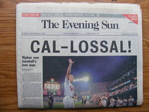 """FS: 1995 Cal Ripken Jr. """"Commemorative"""" Baltimore Evening Sun Ne"""