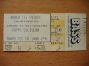 1985 World Jr. Hockey Championships ticket stub