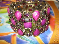 Swarovski Crystal Stretch Bangle Cuff Bracelet--purple----NEW!!