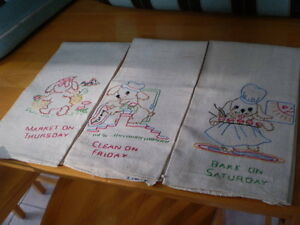 UNIQUE VINTAGE DAYS OF THE WEEK TEA TOWELS HAND EMBROIDERED Windsor Region Ontario image 2