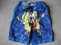 BRAND NEW Spongebob Swim Trunks - Size 5 (Blue)