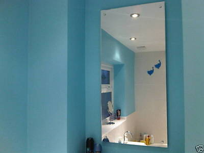 WALL MOUNTED SILVER PERSPEX SAFETY ACRYLIC MIRROR IDEAL FOR BATHROOMS + FIXINGS