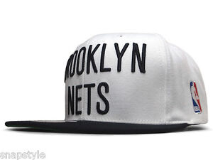 New NBA Brooklyn Nets Snapback Mitchell & Ness Two Tone White/Black Hat