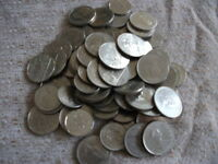 Old Canadian Dollar and Fifty Cent Coins