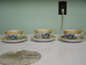Set of 3 Vintage Japanese Cups and Saucers