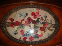 Antique Large Oval Rattan Glass covered Serving Tray 1920