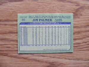 FS: 1982 O-Pee-Chee Jim Palmer (Baltimore Orioles) Card #80 London Ontario image 2