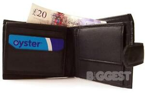 New Mens/Gents Top Quality Soft Black BLK Leather Wallet Coin Section/Purse