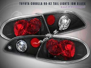 98-02 Toyota Corolla Tail Lights JDM Black 99 00 01  G2