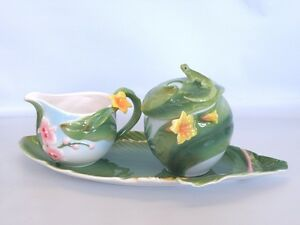 Rain-Forest-Sculptured-Porcelain-Sugar-Cream-Set-New