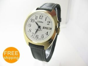 USSR-NEW-AUTO-WATCH-SLAVA-2427-27J-double-date-TAGS-BOX-new-strap-SERVICED-300