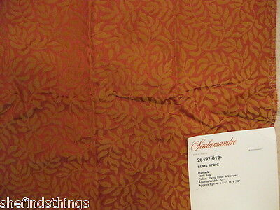 Scalamandre Blair Sprig Tree Leaf Foilage Damask Silk Designer Fabric Sample on Rummage