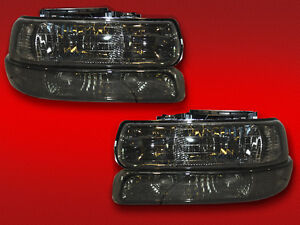 99-02 CHEVY SILVERADO 1500 2500 3500 SMOKED HEADLIGHTS XENONS HEADLAMPS 4pc SET