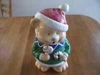 Christmas Teddy Bear Cookie Jar