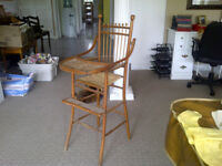 Antique High Chair with Wicker Seat