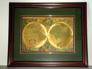 Framed Antique Gold World Map Art Print