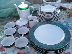 GREEN AND WHITE DISH SET. Reduced