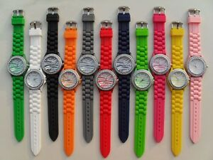 Cool-Zebra-Geneva-Silicone-Jelly-Watch-Crystals-on-Bezel-Multi-Colors-to-Choose