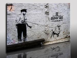 tableau sur toile banksy graffiti rue art reproduction. Black Bedroom Furniture Sets. Home Design Ideas
