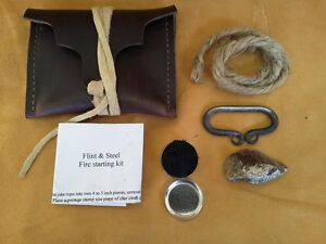 FIRE STARTING KIT-Muzzleloader-REENACTOR-Flint & Steel-Long Hunter-Survival