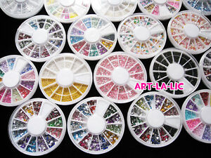 New-Nail-Art-Rhinestones-Glitters-Acrylic-Tips-Decoration-Manicure-Wheel
