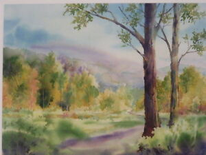 """Original Jeanette McClelland """"Tranquil Woods"""" Water Color"""
