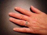 14K Gold Emerald/White Sapphire Ring