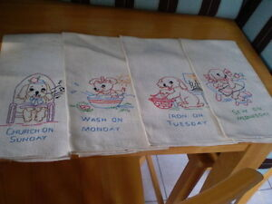 UNIQUE VINTAGE DAYS OF THE WEEK TEA TOWELS HAND EMBROIDERED Windsor Region Ontario image 1