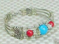 """TIBET SILVER CORAL COLOR & TURQUOISE BRACELET 7.5""""--NEW!!!"""