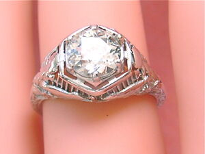 ANTIQUE-1-35ct-EUROPEAN-CUT-DIAMOND-BIRDS-FILIGREE-ENGAGEMENT-RING-1920