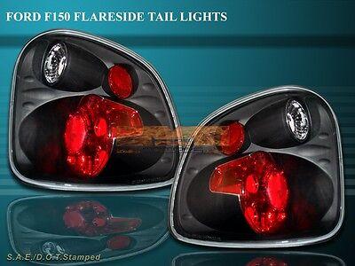 97-00 Ford F150 F-150 Flareside Tail Lights Black 98 99